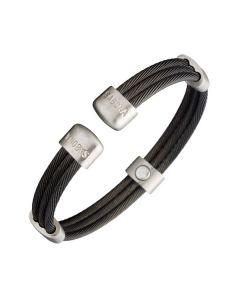 Sabona of London Magnetschmuck Armspange Trio Cable für Damen und Herren im stylischen schwarz und Silber Design Detailansicht
