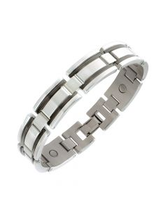 Sabona of London Magnetschmuck Armband Black Stripe für Männer aus Edelstahl Detailanischt