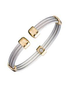 Sabona of London Mangetschmuck Armspange Trio Cable für Damen und Herren aus Edelstahl mit goldenden Akzenten Detailansicht