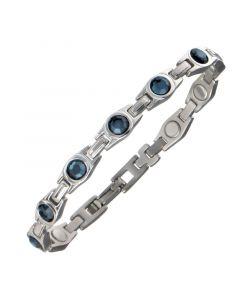 Sabona of London Magnetarmband Lady Blue Zirkonia für Damen aus Edelstahl mit blauen Zirkonia Steinen Detailansicht